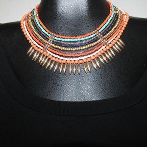 Colorful beaded multi strand statement necklace